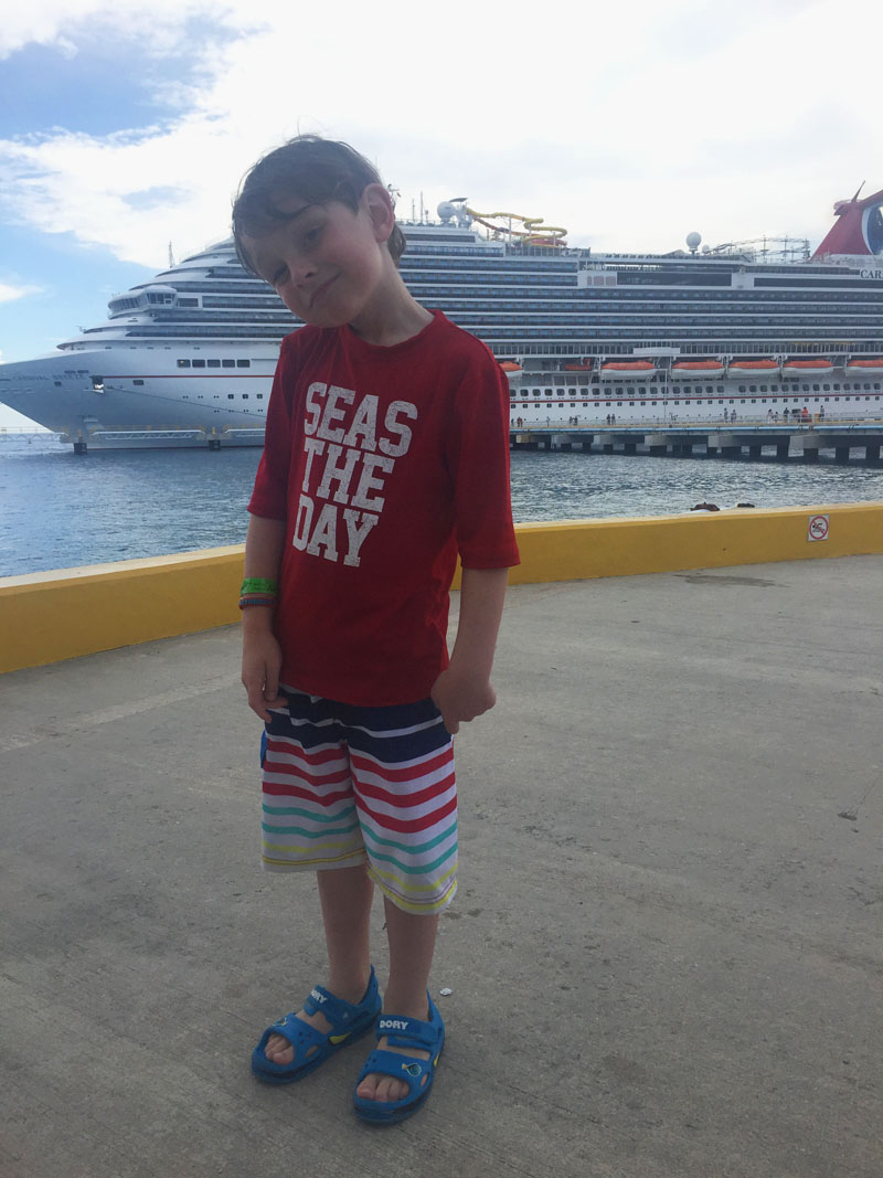 Reuben at the Port in Montego Bay, Carnival Breeze in the Background