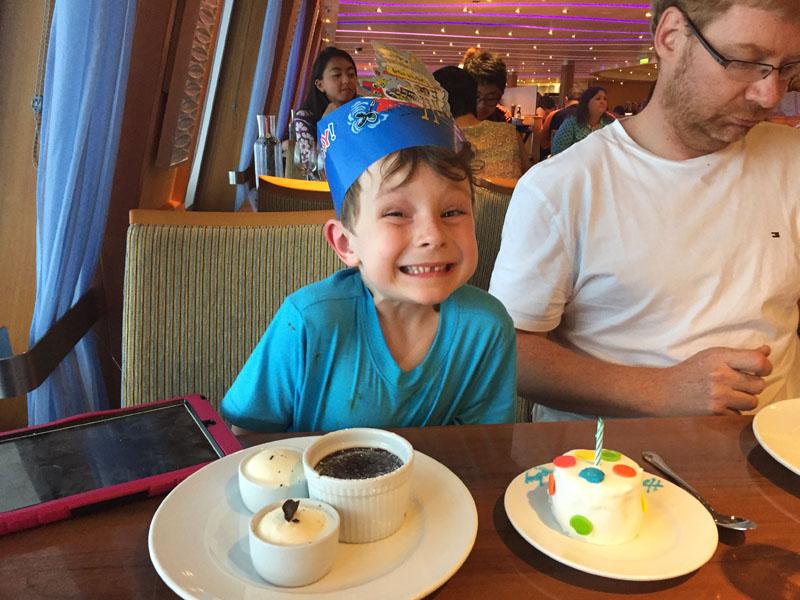 Reuben celebrating his birthday on board the Carnival Breeze