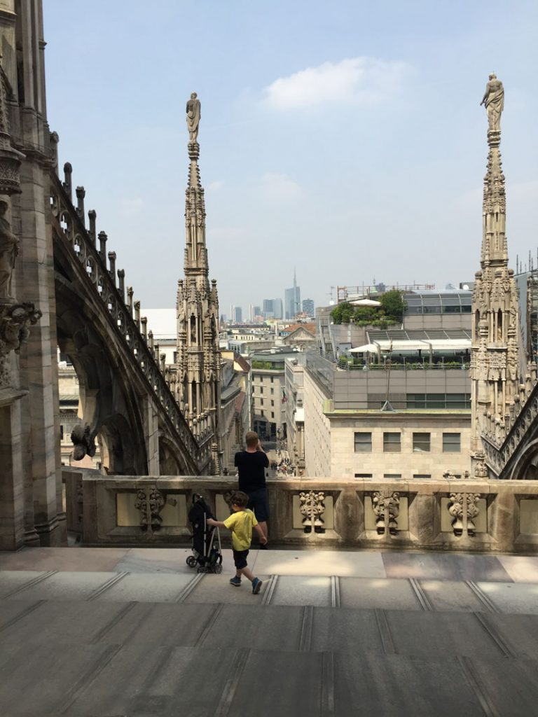 Reuben on the Rooftop of the Duomo in Milan