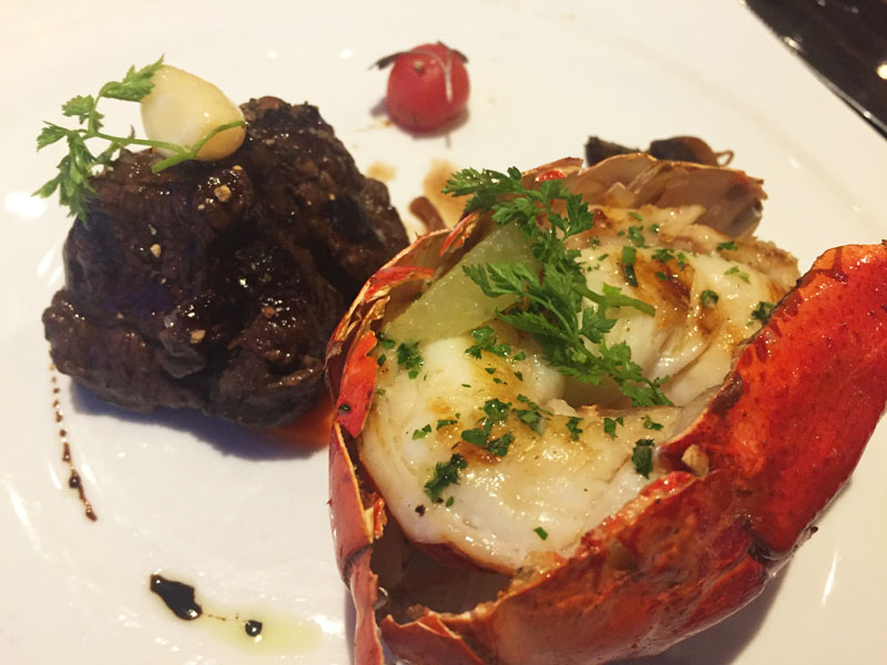 Surf and Turf at Fahrenheit 555 Steakhouse on Carnival Breeze