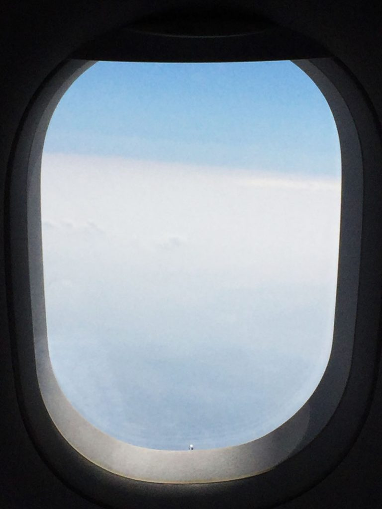 Not much to see out the window between Osaka and Seoul