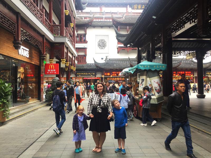 Bethaney, Reuben and Hazel at Yu Gardens in Shanghai, China