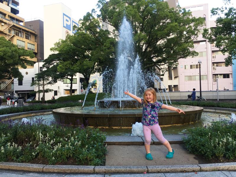 Hazel at the Peace Park in Hiroshima, Japan