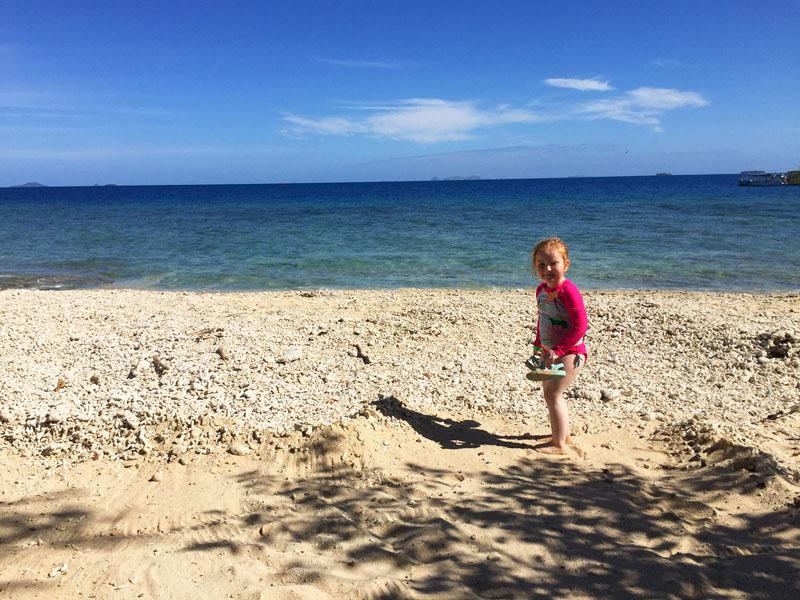 Hazel on the beach in Fiji