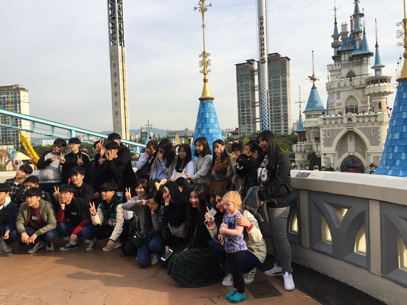 Hazel with a large group of admirers at Lotte World in Seoul, South Korea
