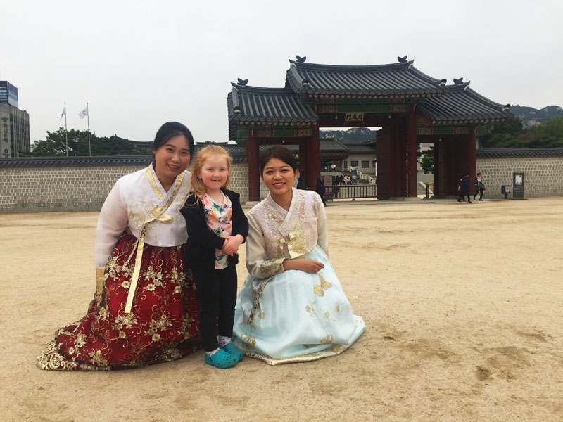 Hazel with some of the beautiful ladies in traditional dress at Gyeongbokgung Palace in Seoul, South Korea