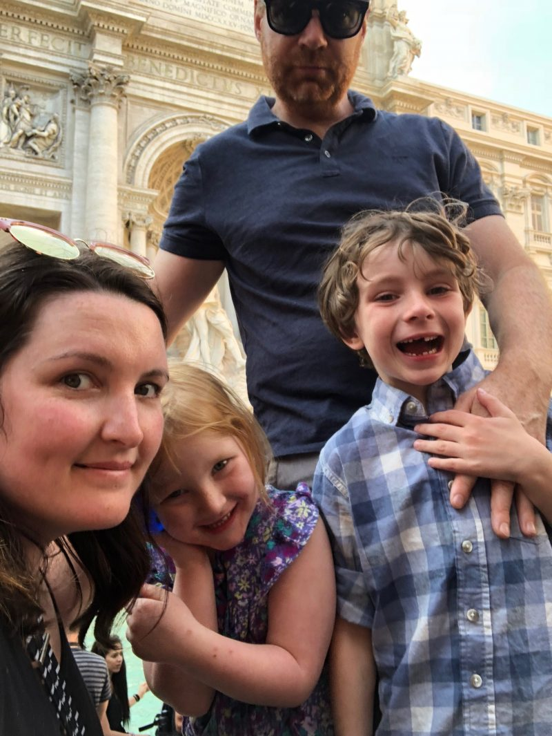 Flashpacker Family at the Trevi Fountain in Rome