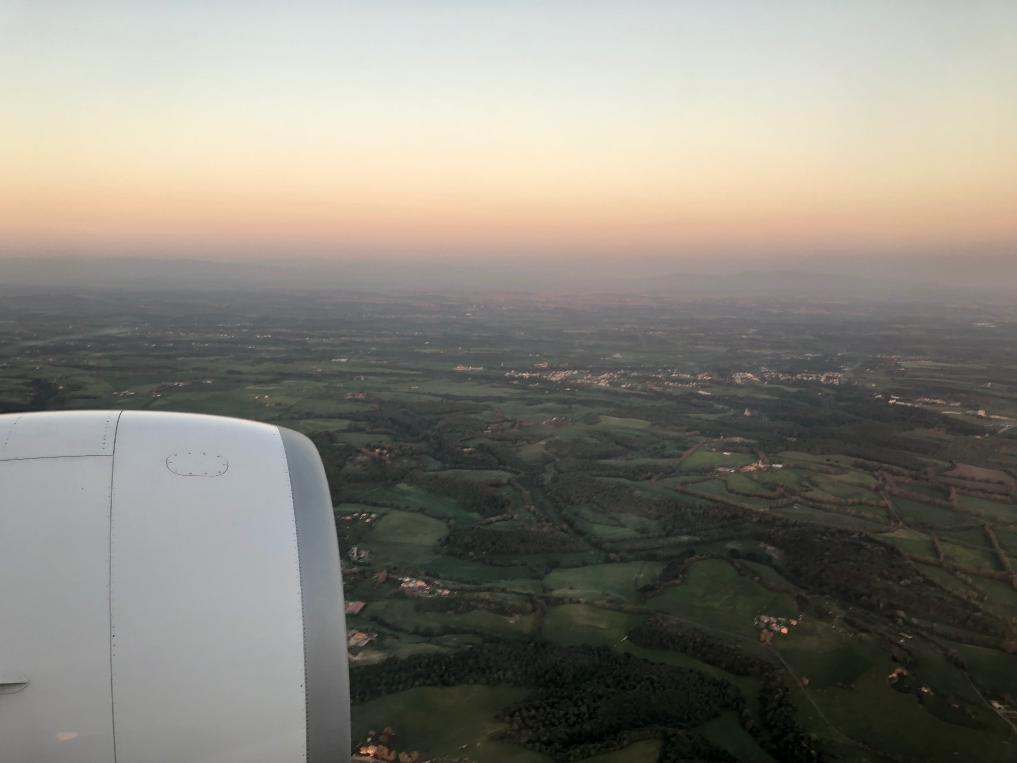 Flying into Rome at Sunset, Overwing View